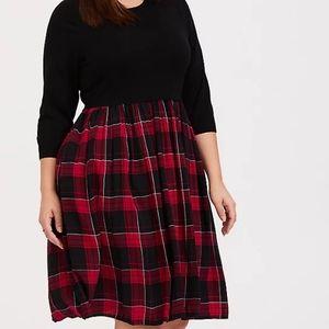 Torrid Black Sweater to Plaid Woven Challis Dress